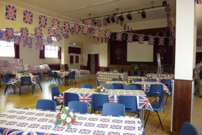 Meg village hall dressed for the royal wedding celebrations